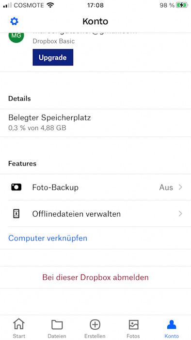 Foto-Upload der Dropbox deaktivieren spart mobile Daten auf Reisen