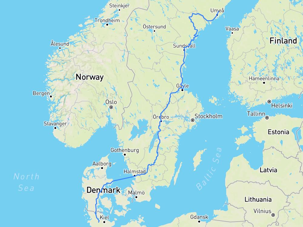 Unsere Route durch Schweden